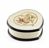 Ivory Stain Heart Shaped Music Box with Floral Centered in Heart Outline Inlay