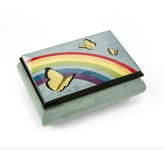 Joyful 30 Note Light Blue and Wood Tone Butterfly and Rainbow Musical Jewelry Box