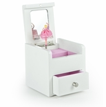 Matte White 18 Note Ballerina Musical Jewelry Box with Pull Out Drawer - Customizable