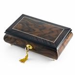 Modern 22 Note 2 Toned Classic Matte Style Burl Elm with Rosewood Border Music Box