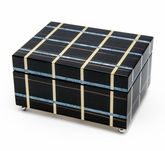 Modern Blue and Beige Line Inlay 30 Note Musical Jewelry Box