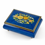Old World 18 Note Italian Blue Floral Music Jewelry Box