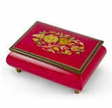 Old World 18 Note Italian Red Floral Music Jewelry Box