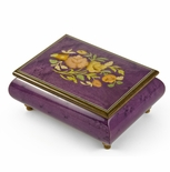 Old World 18 Note Italian Violet Floral Music Jewelry Box
