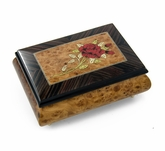 Radiant 22 Note Single Stem Red Rose Musical Jewelry Box