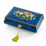 Radiant 36 Note Royal Blue Floral Inlay Musical Jewelry Box with Lock and Key