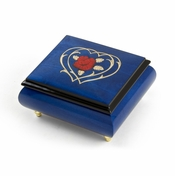 Radiant Blue Musical Jewelry Box With Double Heart and Red Rose Inlay