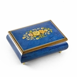 Remarkable 22 Note Dark Blue Floral Theme Wood Inlay Musical Jewelry Box