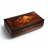 Reuge Handcrafted Floral Inlay 3.72 Note Music Box Titled Calypso in Burr Walnut