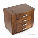 Sleek 22 Note Ultra Modern Natural Wood Tone Grand Musical Jewelry Box with Silver Hardware