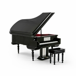 Sophisticated 18 Note Miniature Musical Hi-Gloss Black Grand Piano with Bench