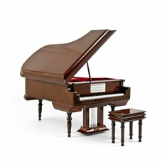 Sophisticated 18 Note Miniature Musical Hi-Gloss Brown Grand Piano with Bench