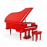 Sophisticated 18 Note Miniature Musical Hi-Gloss Fire Engine Red Grand Piano with Bench