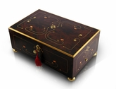 Sophisticated 72 Note Dark Walnut Grand Arabesque with Gold Accents Music Box