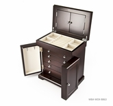 Sophisticated Swiss 50 Note Modern Dark Espresso Grand Musical Jewelry Box with Silver Hardware