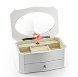 Spacious Matte White 18 Note Ballerina Musical Jewelry Box with Mirror