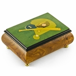 Sports Theme Wood Inlay: Baseball- Collectible18 Note Musical Jewelry Box