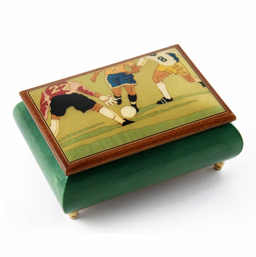 Sports Theme Wood Inlay Soccer Collectible 22 Note Musical