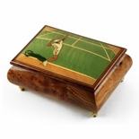 Sports Theme Wood Inlay: Tennis - Collectible 18 Note Musical Jewelry Box
