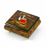 Handcrafted 18 Note Wood Tone Beatrix Potter Music Box with Momma w/ Babies Inlay