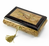 Timeless 30 Note Handcrafted Musical Theme Wood Inlay Musical Jewelry Box