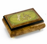 Tranquil 30 Note Olive Green and Wood Tone Dragonfly Music Box