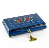Vibrant 22 Note Royal Blue Double Red Rose and Heart Musical Jewelry Box