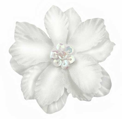 Flower hair clips 215 scalloped petals and sequin center flower hair clips 24 colors 299 46 off color swatch white mightylinksfo