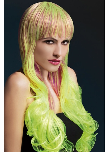 2-Tone Purple/Yellow Very Long Emily Wig with Soft Curls