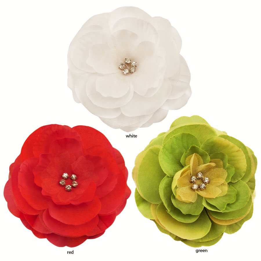 35 luxe chiffon and silk flower hair clip with crystal center silk flower hair clip with crystal center 35 35 35 mightylinksfo
