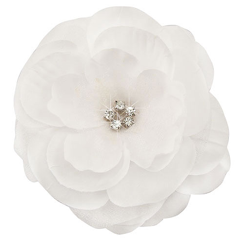 35 luxe silk chiffon white flower hair clip with crystal center mightylinksfo
