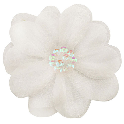 35 white flower hair clip with chiffon overlay and sequin center mightylinksfo