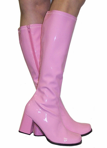 3 Quot Go Go Boots In Baby Pink Vinyl Patent Leather