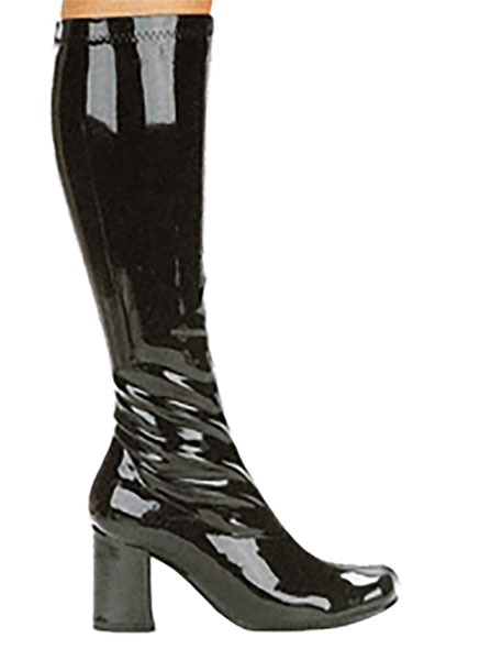 3 quot go go boots in black vinyl patent leather