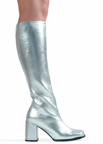 3 Quot Go Go Boots In Silver Vinyl Patent Leather