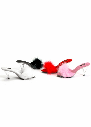 3 Inch Clear Heel Marabou Shoes