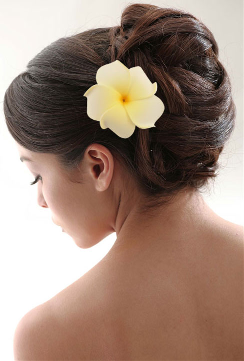 3 plumeria hawaiian whiteyellow flower hair clip 3 mightylinksfo