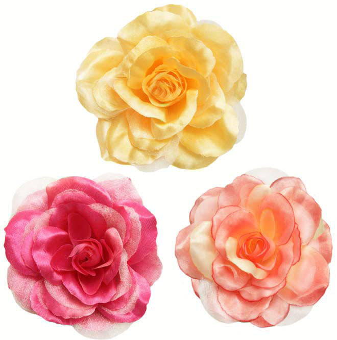 4 Quot Flower Hair Clips In Silk And Chiffon Available In 36