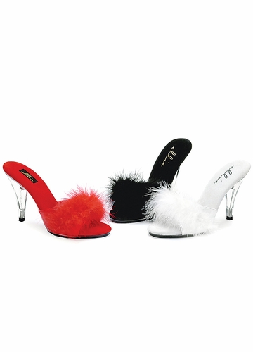 4 Inch Clear Heel Marabou Shoes