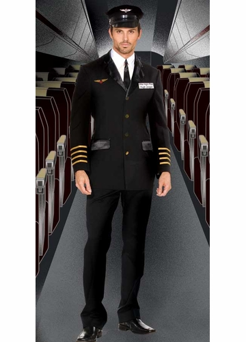 4-Piece Captain Pilot Costume for Men