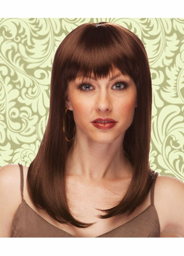 Alluring Shoulder Length Wig with Full Bangs in Chocolate Brown