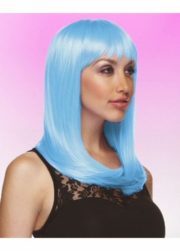 Light Blue Wig Hollywood with Full Bangs