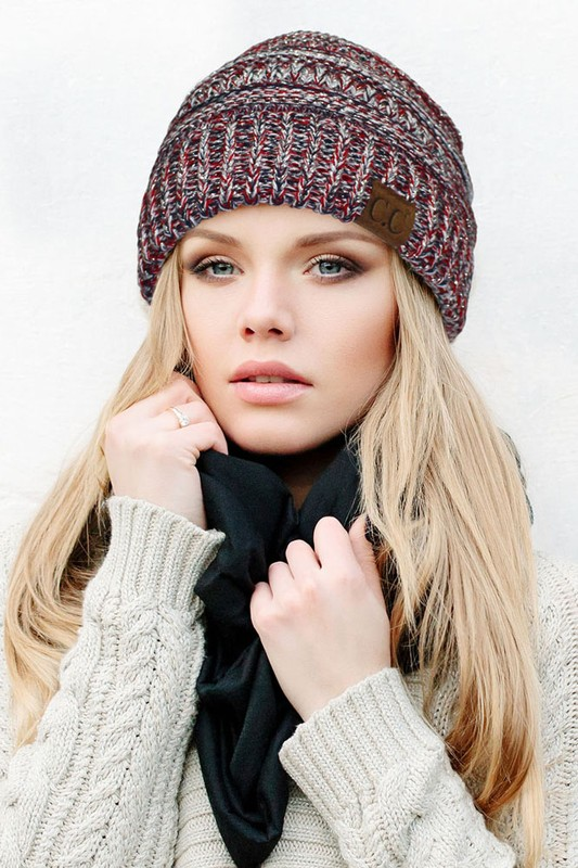 Red White and Blue with Silver Metallic CC Beanie Hat 36fb6794104