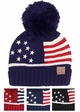 American Flag Patriotic Knit Beanie Hat by CC inset 1