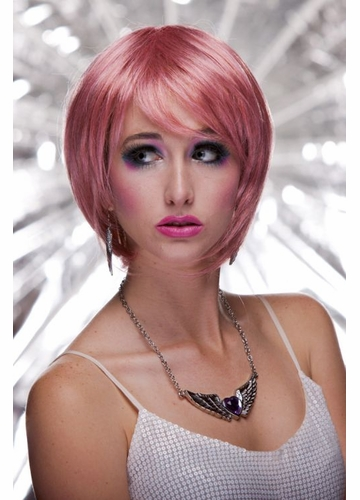 Anime Razor Cut Bob Wig With Bangs in Pink Venom