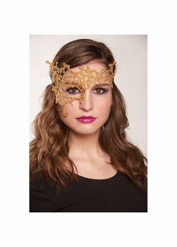 Asymmetric Lace Mask with Ribbon Ties