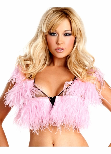 Baby Pink Ostrich Feather Top