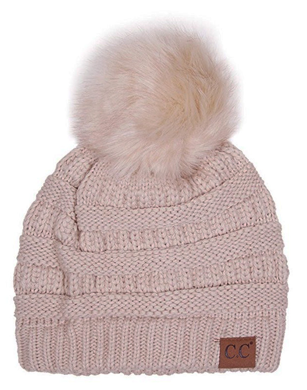 692b8ce55a1 Beige CC Knit Beanie Hat with Matching Fur Pom Pom