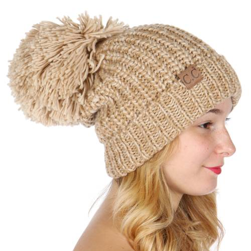 Beige Taupe Chunky Knit Beanie Hat by CC Brand inset 1 ... bd2daf8b178