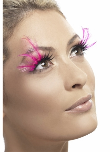 Black Fake Lashes with Pink Feather Plumes